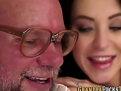 Teen whore rides grandad