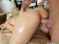 Kate Alton oils up her amazing ass and gets fucked