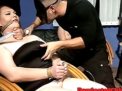 Restrained slaves fucked by maledom group