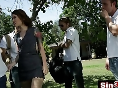 Polish College Girl Misha Cross Deepthroating 5 Guys In An Outdoor Blowbang