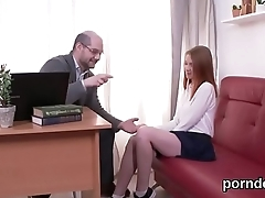 Natural college girl is teased and plowed by her senior schoolteacher