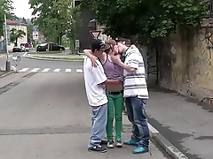 Hot young teen Alexis Crystal PUBLIC street gang bang sex orgy