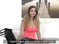 Natural busty blonde in sixty nine in casting