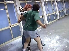 It'_s a trap! Woman brutalized by two bad guys!