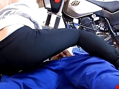 Cute milf in leggings fucked hard in the garage