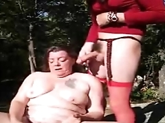 Horny granny having fun with strangers