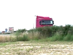 Risky PUBLIC sex threesome by a highway with a young teen petite girl