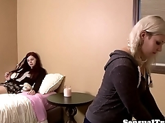 Redhead les tgirl cocksucked by babe