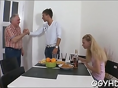 Young babe licked by old chap