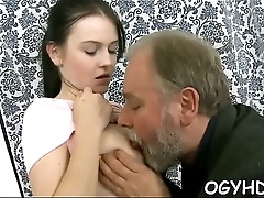 Old cock enters juvenile pussy