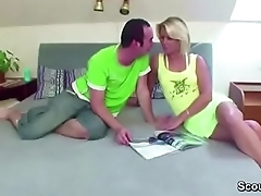 Step-Son Seduce Hot Blond MILF Step-Mom to Fuck