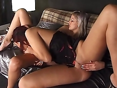 Blonde and redhead: lesbo couple
