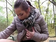 Cutie Amateur European Teen Gives Head In Public For Euros 14