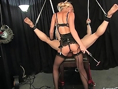 Petite blonde Mistress uses slave for pussy worship