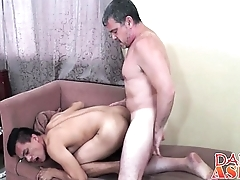 Mature gay perv found a fresh Asian twink anus for stuffing