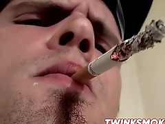 Horny and hot twink Nolan smoking Marlboro and stroking cock