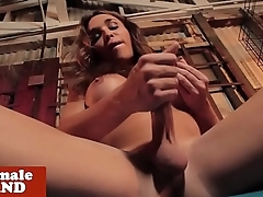 Busty amateur tranny fingers her ass and tugs