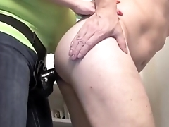 beautiful fat blond fuck her hubby ass with a strapon