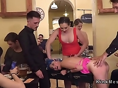 Colorful sub paddled and fucked in public