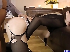Euro amateur masturbating before titfucking