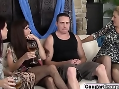 Cougars get mouths and cunts stuffed with younger cockorgy-with-guy-hd-1