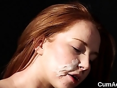 Sexy centerfold gets cumshot on her face eating all the load