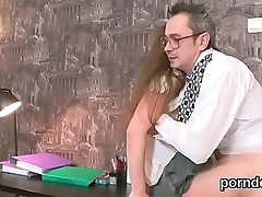 Natural bookworm gets tempted and banged by her aged schoolteacher