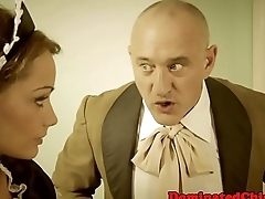 Submissive housemaid fucked in highheels