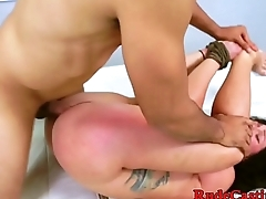 Hardfucked amateur gags on cock at casting