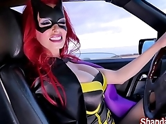 Shanda Fay is BatGirl Blowing Big Cock in Car!