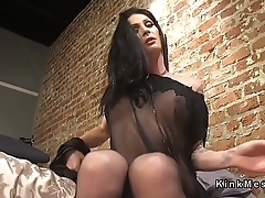 Hot busty tranny worships guy in uniform