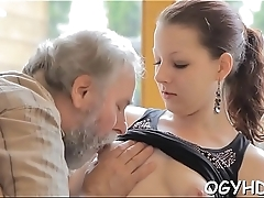 Avid old boy licks young pussy