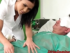 Beautiful nurse dominating injured man