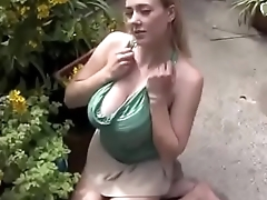 Downblouse girl gardening - chat with me on: https://goo.gl/eoSN3R